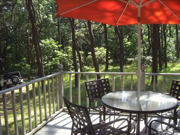 Wellfleet cottage rental - back deck faces old Wireless Rd