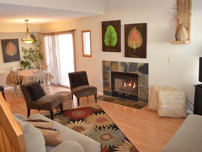 Living room with fireplace, great for relaxing and conversation. Very cozy! HDTV