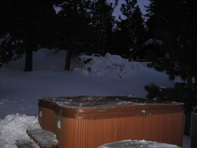 Hot Tub on the deck looking over the lake that can accommodate up to ten people