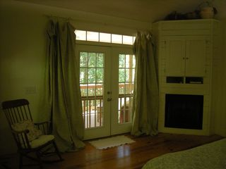 Helen cabin photo - fire place in master bedroom french door that open to upper porch