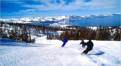 view of Lake Tahoe from the ski slopes