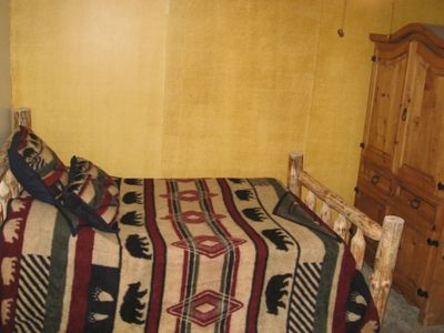 Upstairs Bedroom with a Full and a Twin Log Bed