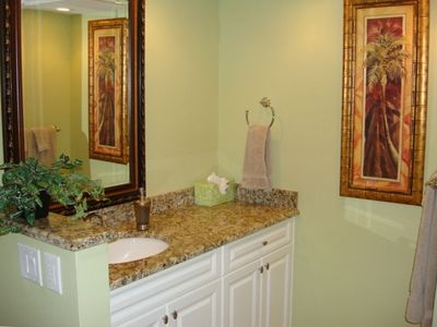 Master Bath Vanity Area with granite counter top