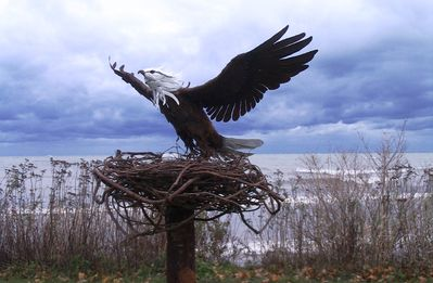 Artistic eagle watching over our lakefront.