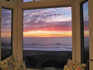 Bodega Bay cottage photo - Sunset from bay window, Cliff Cottage