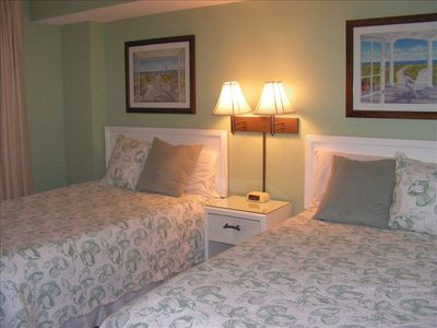 Beach Colony condo rental - Second Bedroom has a two pillow-top double beds, and full bath across the hall.
