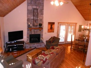 Branson lodge photo - Open Living Room with Stone Fireplace