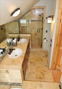Master Bath with dual sinks and shower