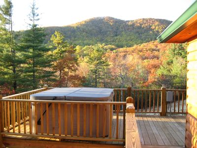 Hot Springs hot tub overlooking Humpback Mountain and Mount Mitchell