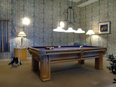 Asheville house rental - Billiards, foose ball or shuffleboard anyone? Well appointed game room.