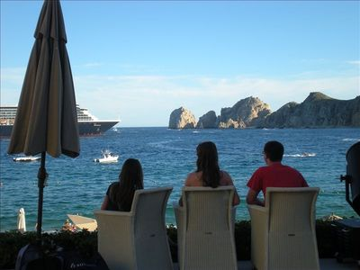 Our three children enjoying the ocean-side view of Casa Dorada.