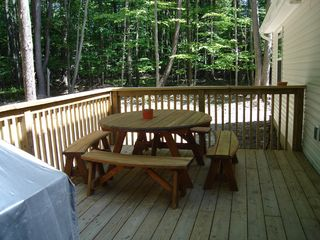 Arrowhead Lake house photo - Back deck - Gas grill and picnic table