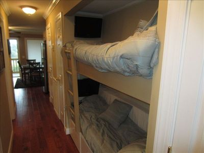 Bunk beds with flat screen tv's with dvd's and game jacks too!