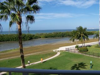 Fort Myers Beach condo photo - Looking Northwest from the lanai to view Sanibel & Times Square.