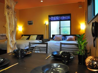 Kyoto property rental - Bamboo floors, highest quality bedding, and stylish furnishings (Bamboo Suite).