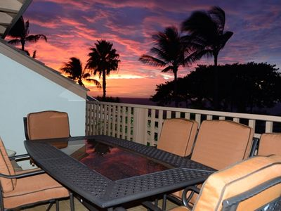 Breathtaking view of the sunset from our lanai.