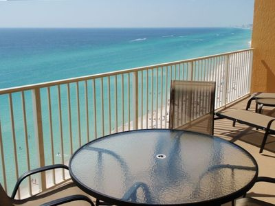 30 Ft long Balcony overlooking the blue water and white sand of the gulf