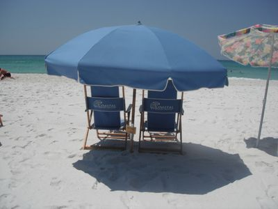 Beach chairs and umbrella are included in the rental from March through October