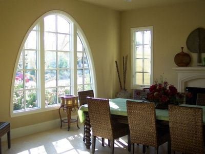Dining Room With Pool Views, And Mountain Views... Pool Table Underneath !!!