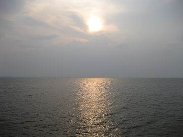 Sun setting over the sound
