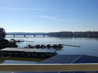 Osage Beach condo photo - View of the Grand Glaize Bridge and open channel from the large balcony.