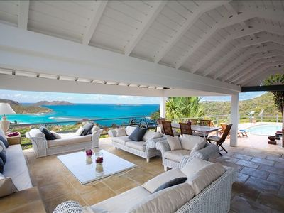 St Barthelemy villa rental - Living area- view over the bay of St. Jean.