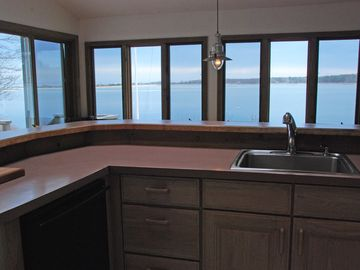 View of Tashmoo and Vineyard Sound from Kitchen.