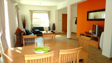 Living Area, 2 sofa-beds, Satellite TV & Kitchen