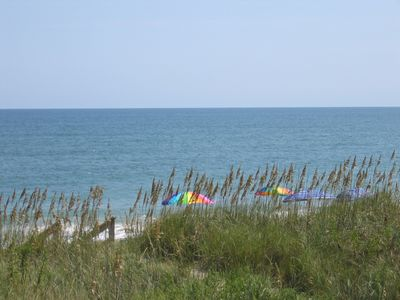 Kill Devil Hills house rental - The beach from the shaded copula - umbrellas, chairs availaible