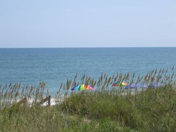 The beach from the shaded copula - umbrellas, chairs availaible