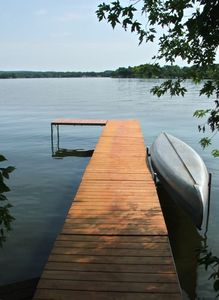 LakeHouse pier and canoe.