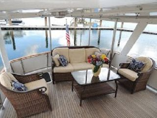 Boston yacht photo - Enjoy breakfast from your aft deck aboard Green Turtle II on Boston Harbor!