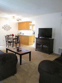 Bakersfield apartment rental - living room and dining room off kitchen area, queen sofa sleeper