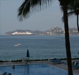 "View from our Pool Deck--Arrival of the ""HMS QUEEN MARY II"""