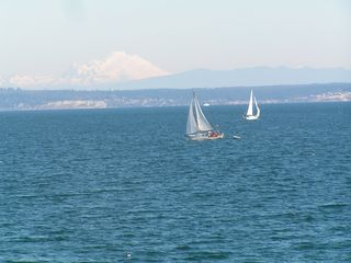 Port Ludlow condo photo - View from deck with Mt. Baker