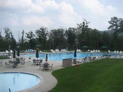 Kiddle pool, outdoor heated pool and playground in the back