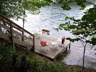 Your own dock and Sandy Swimming Area on Brantingham Lake. Row boat is provided!