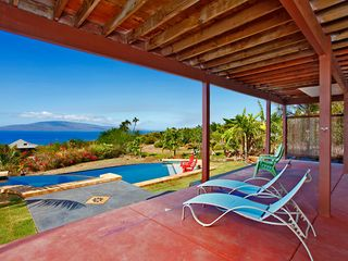 Lahaina house photo - Covered lower lanai for shade/ multi level pool deck for full sun...