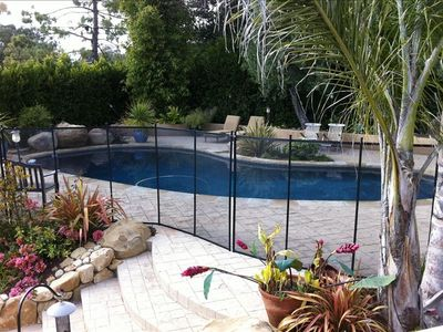 Montecito house rental - View of the pool with the child fence up. Fence can be installed by request.