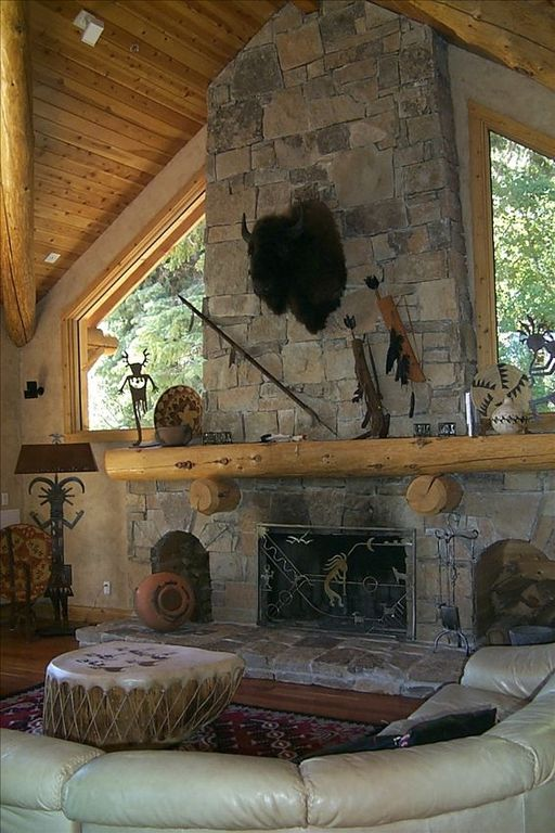 Sundance cabin rental - Great Room and Fireplace