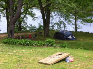 Cassopolis house photo - Tent camping by the lake! Our guests know Life is Great at our Stone Lake Estate