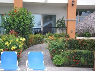 our patio steps right on to the pool deck..