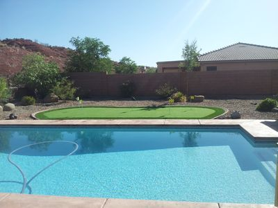 How about a dip in your private pool? Or does practicing your putting sound good