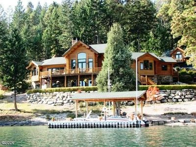 'Watersong,' stunning waterfront Alpine Log, 3-level home, with panoramic views.