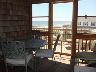 Brant Beach house photo - Screened-in porch upstairs with ocean view!