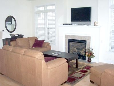 "Family Room with gas fireplace and 42"" flat screen tv and dvd"