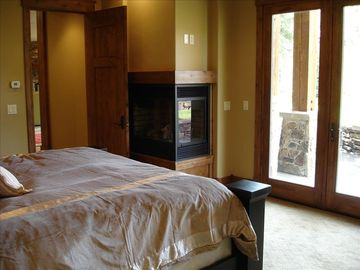View of typical master bedroom with king bed.
