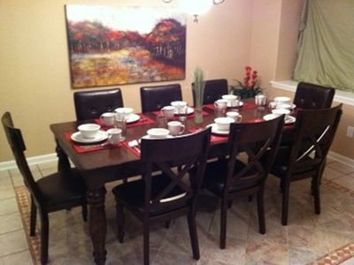 Dining area with seating for 8.