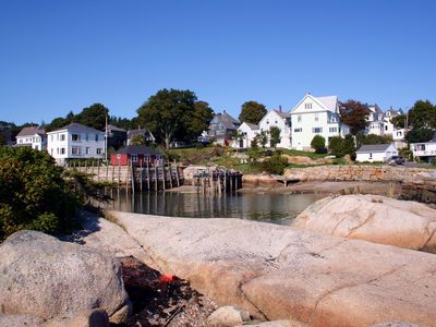 From some granite ledge in the harbor, looking back to the cottage and cove.