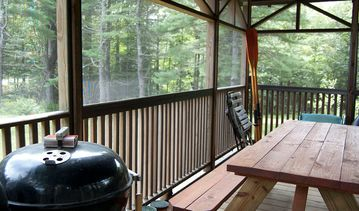 BBQ, oars and screened in gazebo